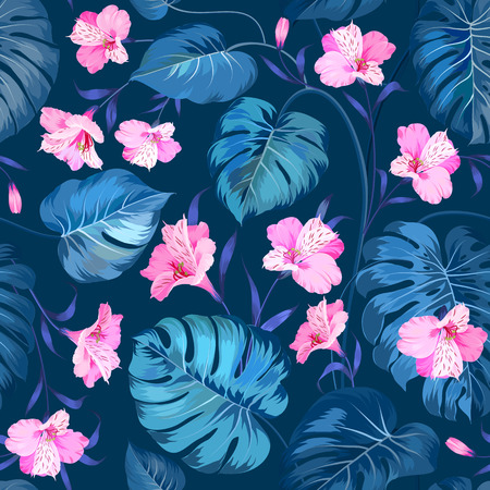 topical: Beautiful alstroemeria on seamless background. Topical palm leaves on seamless pattern. Topical palm leaves and beautiful alstroemeria on seamless background. Vector illustration. Illustration