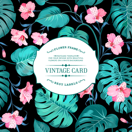 asian: Spring flowers for vintage card. Lable with text and flower pattern on background. Border of flowers in vintage style. Flower texture of Alstroemeria flowers on vintage card. Vector illustration.