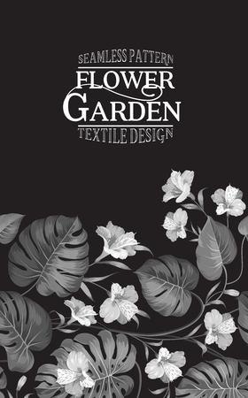 flower blooming: Vertical composition for flower garden card. Invitation vertical card. Floral vertical vintage invitation with white blooming flowers on black backgrond. Vector illustration.