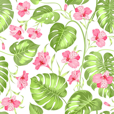 topical: Topical palm leaves on seamless pattern. Topical palm leaves and beautiful alstroemeria on seamless background. Vector illustration. Illustration