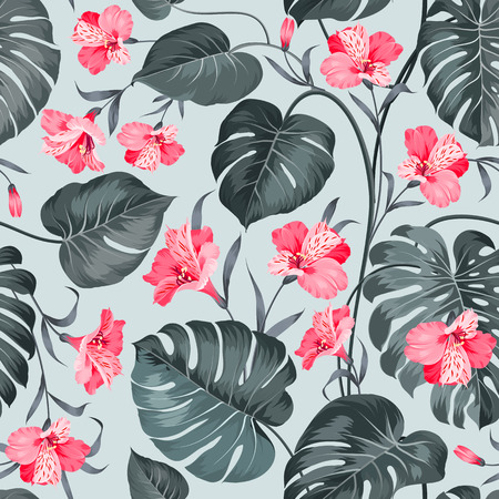 illustrators: Topical palm leaves on seamless pattern. Topical palm leaves and beautiful alstroemeria on seamless background. Vector illustration. Illustration