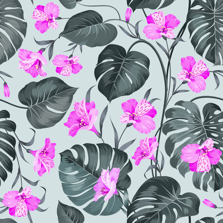 repeat pattern: Topical palm leaves on seamless pattern. Topical palm leaves and beautiful alstroemeria on seamless background. Vector illustration. Illustration