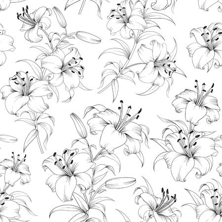 ユリの花のシームレスなパターン。咲くユリの白い背景で隔離の花の背景。咲くユリとのシームレスなパターン。ベクトルの図。
