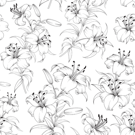 decorative design: Seamless Pattern of lily flowers. Floral background with blooming lilies isolated on white background. Seamless  pattern with blooming lilies. Vector illustration.