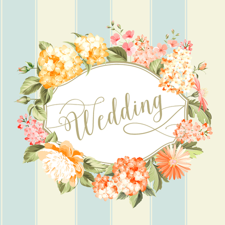 illustration invitation: Wedding invitation card of color flowers. Vector illustration.