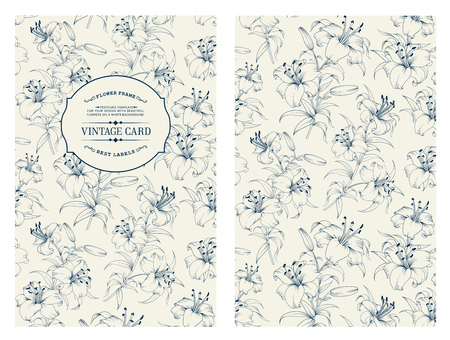 Lily flower pattern isolated on gray. Floral pattern with lilies. Blue lines over gray background. Vector illustration.