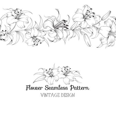 Group of lily flowers. Floral background with blooming lilies isolated on white background. Vector illustration.