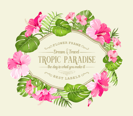 tropical flower: Beautiful card with a wreath of tropical flowers. Tropical flower garland. Blossom flowers for invitation card. Vector illustration.