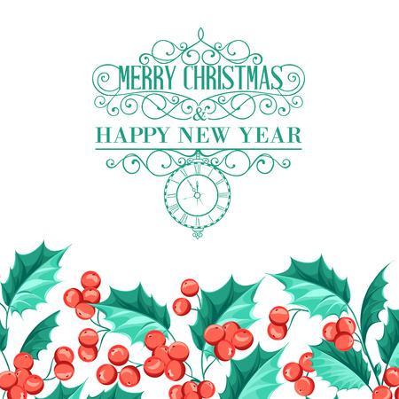 cristmas card: Christmas mistletoe holiday card with text. Happy new year 2016. Best lable Cristmas. Vector illustration.