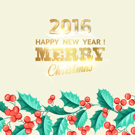 new plant: Christmas mistletoe holiday card with text. Happy new year 2016. Christmas flower frame. Gold text tyography. Vector illustration. Illustration