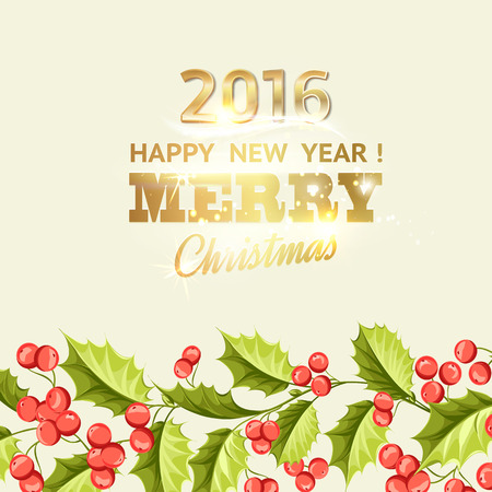 snow and trees: Christmas mistletoe holiday card with text. Happy new year 2016. Christmas flower frame. Gold text typography. Vector illustration.