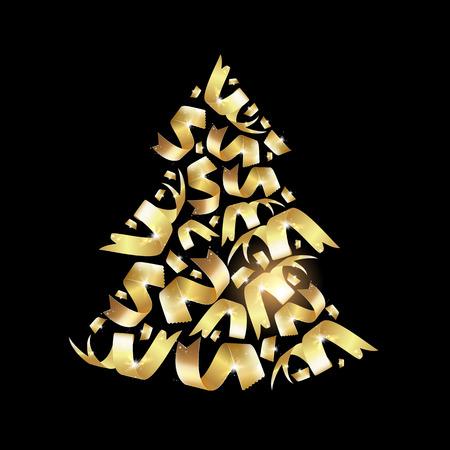 Sapin De Noël Confetty. Sapin De Noël De Fantaisie. Carte De Voeux