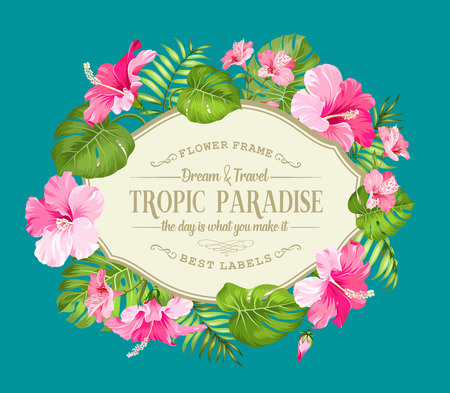 garden flowers: Beautiful card with a wreath of tropical flowers. Tropical flower garland. Blossom flowers for invitation card over blue background. Vector illustration. Illustration