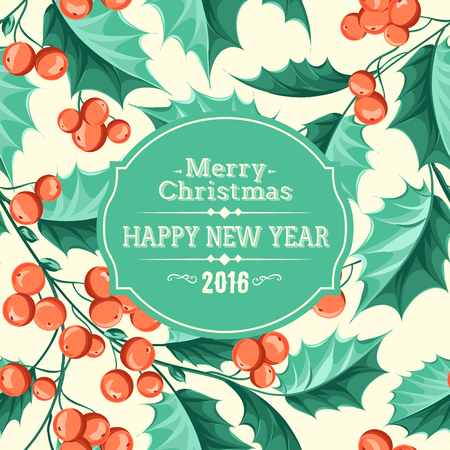 christmas flower: Christmas mistletoe holiday card with text. Happy new year 2016.  Christmas flower frame. Vector illustration.