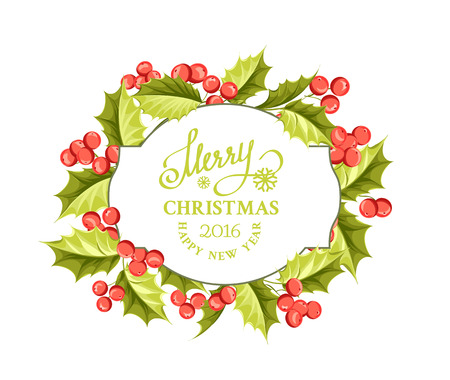 traditional plants: Merry christmas card with border of misletoe wreath isolated over white. Vector illustration. Illustration