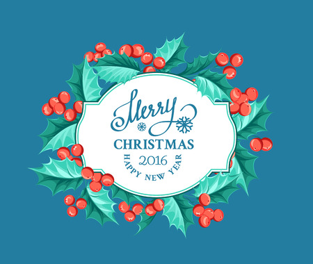 christmas border: Merry christmas card with border of misletoe wreath on the blue background. Vector illustration.