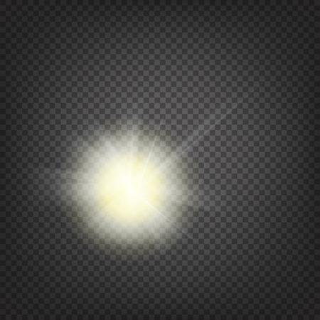 sol radiante: Rayos de sol brillante de los rayos de sol en el fondo abstracto sol y la transparencia de fondo. Ilustración del vector. Vectores