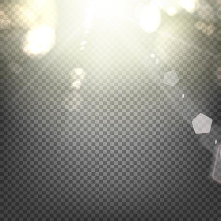 Glanzende zonnestraal van zonnestralen op de abstracte zon achtergrond en transparantie achtergrond. Vector illustratie.