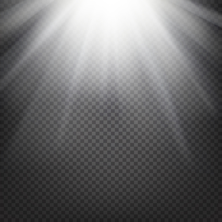 Shiny sunburst of sunbeams on the abstract sunshine background and transparency background. Vector illustration. Ilustração