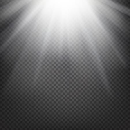 słońce: Shiny Sunburst z promieni słonecznych na abstrakcyjnym tle słońca i przejrzystości tle. Ilustracji wektorowych. Ilustracja
