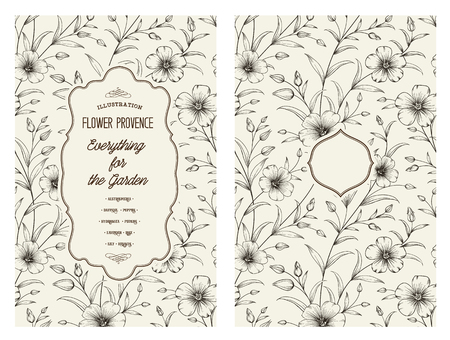Flax flower isolated over gray background. Vintage card with flowers on background. Book cover with floral texture. Black lines on white background. Vector illustration. Illustration