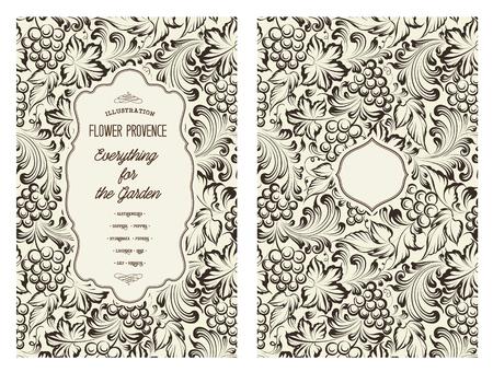 個人用の送付状のデザイン。つるのパターン。本の表紙のつるのテーマです。彫刻のスタイルでワインの質感のイラスト。ベクトルの図。