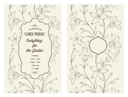 saffron: Crocus spring flowers texture for your card design. Floral card with black crocus pattern on gray background.  Vector illustration. Illustration