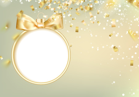 navidad: Golden christmas ball on white background with blurred sparks and confetti. Vector illustration.