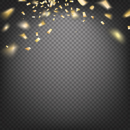 Golden confetti falls isolated over transparent background.  Gold template over black background with golden sparks. Happy new year 2016. Vector illustration. 免版税图像 - 47943027