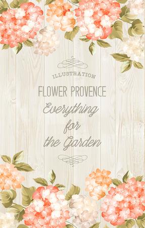 bruilofts -: Prachtige paarse bloem van de hortensia. Kaart van het huwelijk en engagement aankondiging. Uitnodiging kaart sjabloon met oranje bloeiende hortensia over grijze achtergrond. Vector illustratie. Stock Illustratie