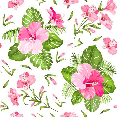 hibiscus: Flor tropical sin fisuras. Flor de las flores. Fondo inconsútil del modelo. Ilustración del vector. Vectores