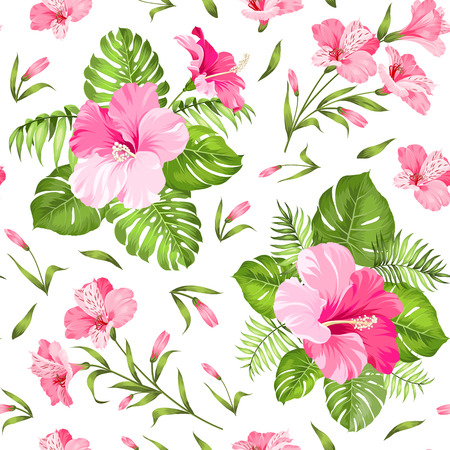 green life: Seamless tropical flower. Blossom flowers. Seamless pattern background. Vector illustration. Illustration
