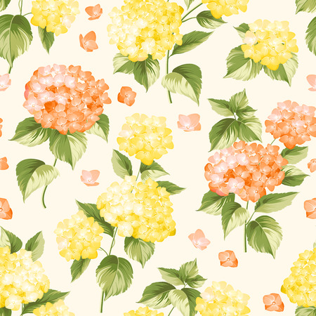 isolated flower: Flower pattern of yellow hydrangea flowers. Seamless texture. Pink flowers. Vector illustration.