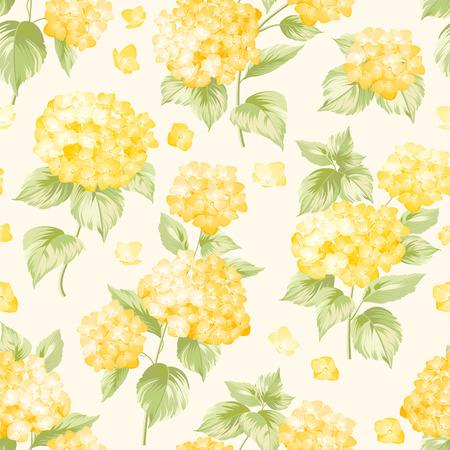 Blumenmuster der gelben Hortensien. Nahtlose Textur, gelbe Blüten. Vektor-Illustration.