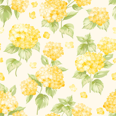 Flower pattern of yellow hydrangea flowers. Seamless texture, yellow flowers. Vector illustration.