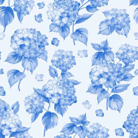 Bloem patroon van blauwe hortensia bloemen. Naadloze textuur. Blauwe bloemen. Vector illustratie.