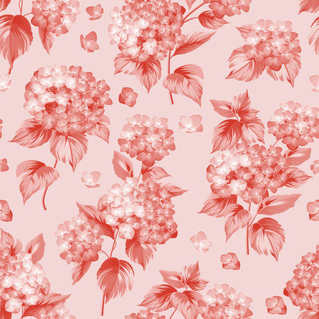 pattern flower: Flower pattern of red hydrangea flowers. Seamless texture. Red flowers. Vector illustration. Illustration