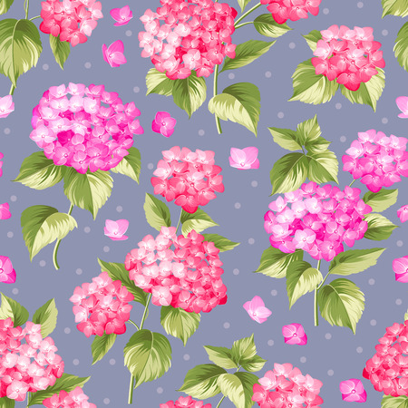 violet red: Flower pattern of red hydrangea flowers over violet background. Seamless texture. Red flowers. Vector illustration.
