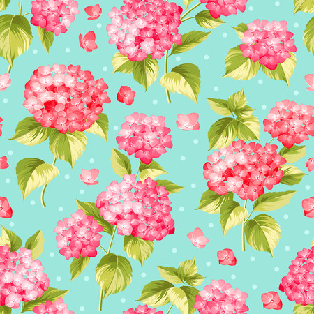 vintage rose: Flower pattern of red hydrangea flowers over blue background. Seamless texture. Red flowers. Vector illustration. Illustration