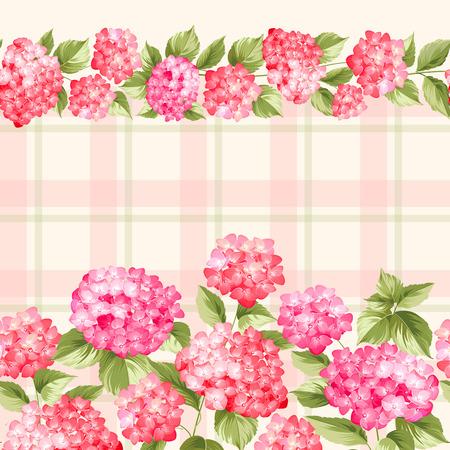 Stof patroon van rode hortensia bloemen. Naadloze textuur. Rode bloemen. Vector illustratie.