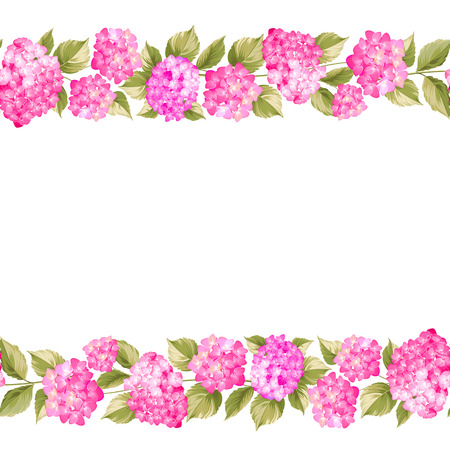 pattern background: Textle flower pattern of pink hydrangea flowers. Seamless texture. Fabric flower pattern. Pink flowers. Vector illustration.