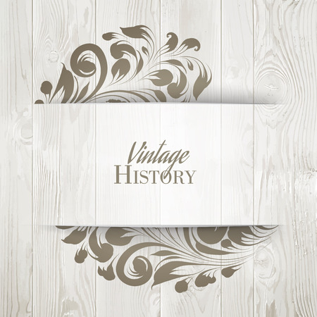 wood planks: The vintage history card. Can be used for invitation card. Vector illustration. Illustration