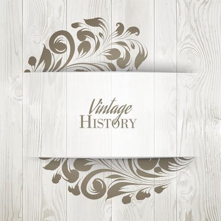 wood: Vintage karty historii. Może być stosowany dla karty z zaproszeniem. ilustracji wektorowych.