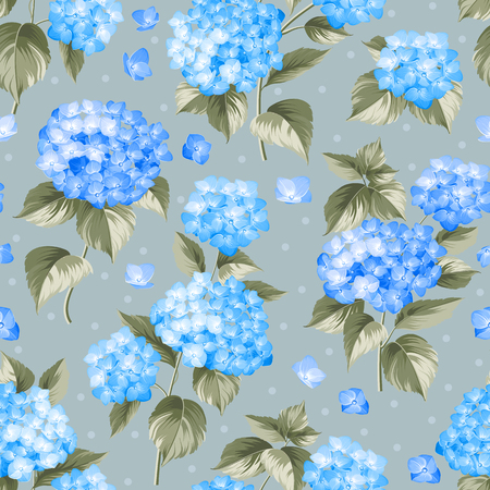 Flower pattern of blue hydrangea flowers over gray background. Seamless texture. Blue flowers. Vector illustration.