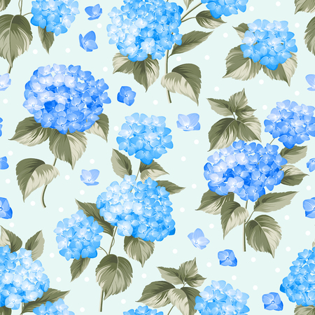 abstract rose: Flower pattern of blue hydrangea flowers over light background. Seamless texture. Blue flowers. Vector illustration.