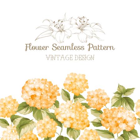 colores pastel: frontera adornada flor de naranja con el azulejo. Diseño del papel pintado de la vendimia elegante. Ilustración del vector.