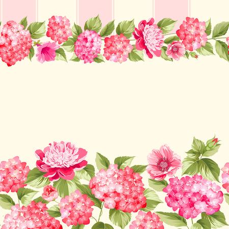 Pink flower border with tile. Elegant Vintage card design. Roses, floral wallpaper, seamless pattern. Vector illustration. Illustration