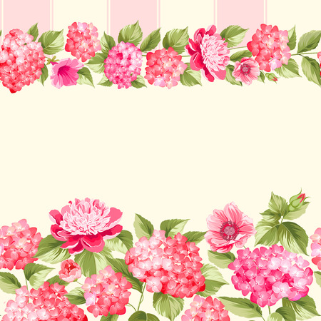 Pink flower border with tile. Elegant Vintage card design. Roses, floral wallpaper, seamless pattern. Vector illustration. Illustration