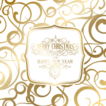 fabric design: The happy new year card. Fantasy frame. Can be used for invitation card. Vector illustration.