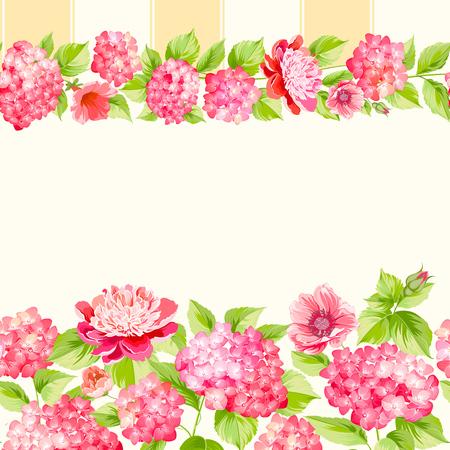 pink bushes: The floral seamless pattern over light background. Flower pattern of orange hydrangea flowers over white background. Seamless texture. Red flowers. Vector illustration.